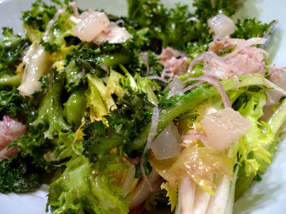 wilted escarole, sweet red onion, vodka