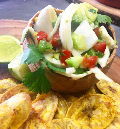 Coconut Ceviche with Platains
