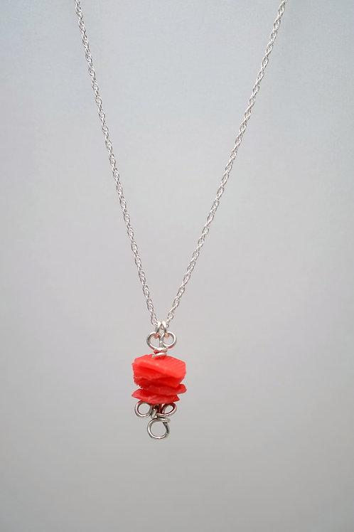 Milk Cap Loop Necklace: Red