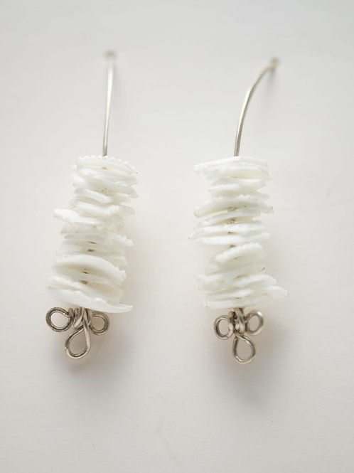 Milk Cap Earrings: White