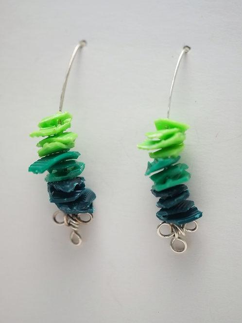 Milk Cap Earrings: Green Ombre