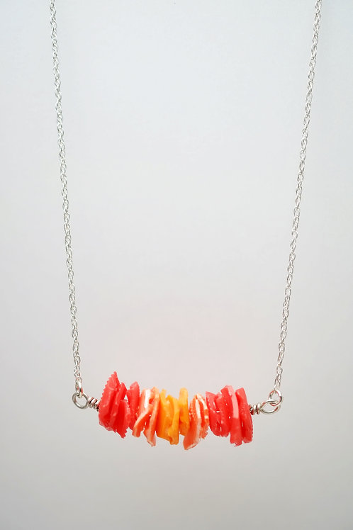 Milk Cap Necklace: Red/Orange Ombre