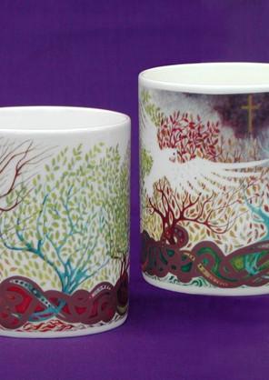Screen printed full colour mugs