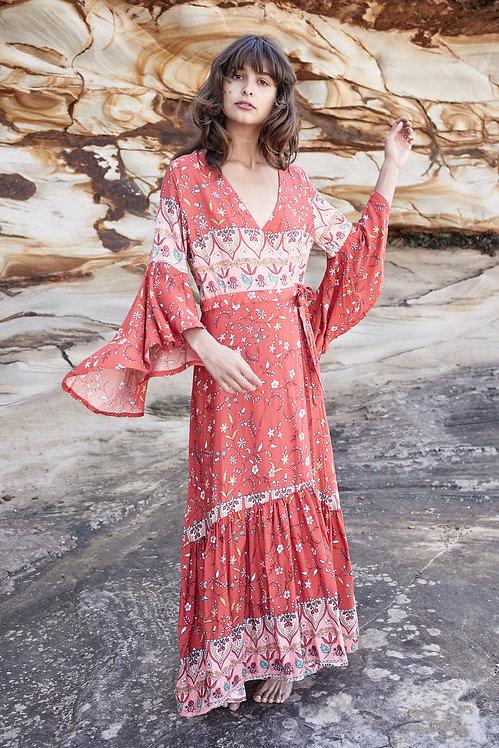 red bohemian wrap dress