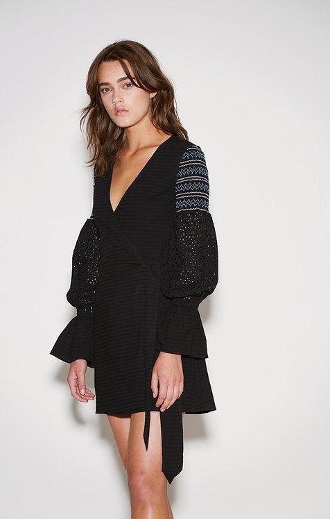 Riverine black wrap dress
