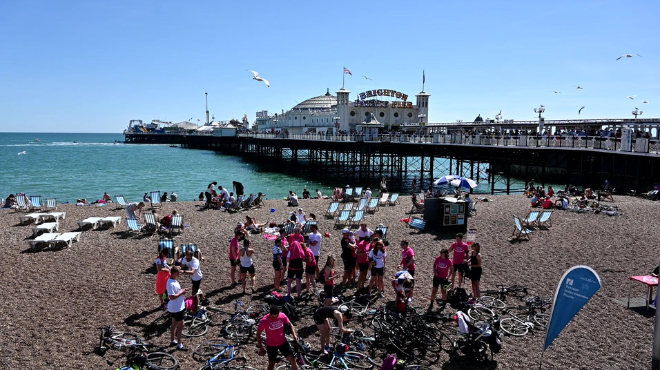 Swimmers At Brighton Pier