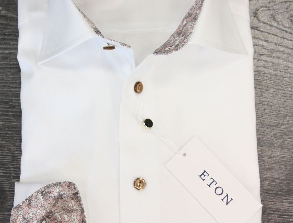 Contemporary skjorte - ETON - Hvid med mønster i krave