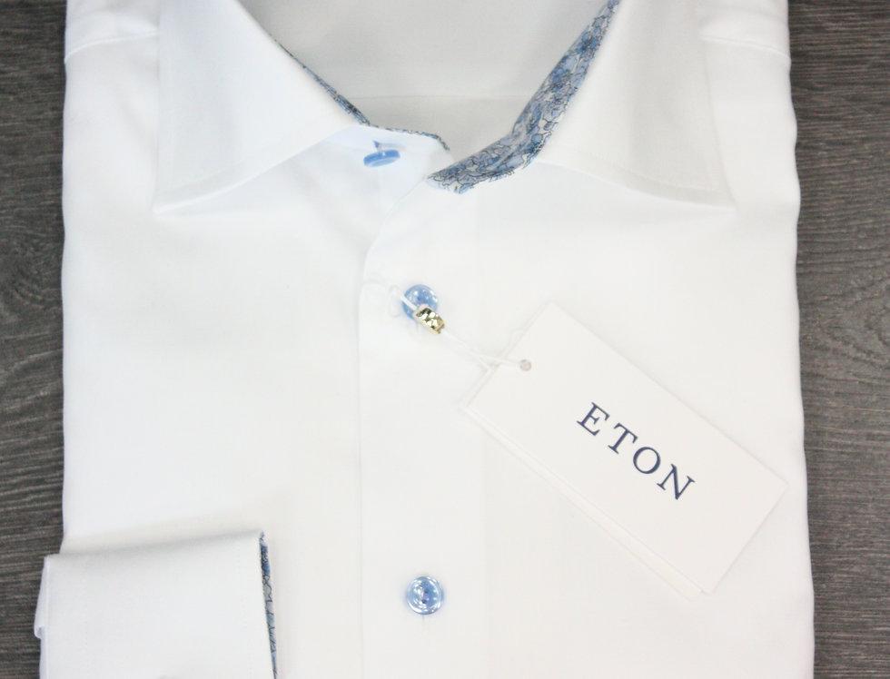 Slim skjorte - ETON - Hvid med mønster i krave