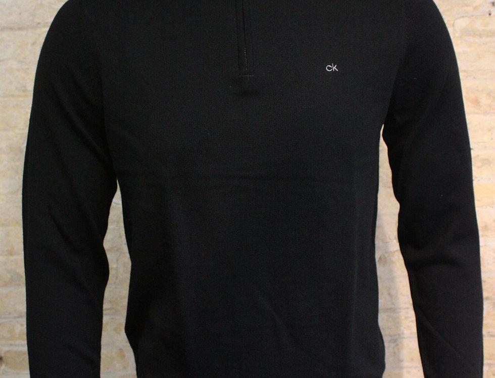 Calvin Klein Half Zip Superior Wool - Black