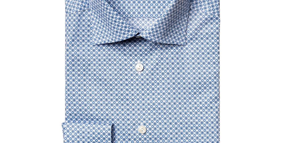 Slim skjorte - ETON - Blåt mønster