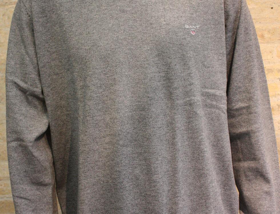 Gant Cotton Crew Wool - Dark Grey