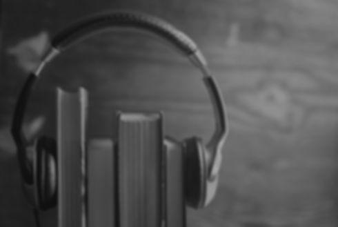 monochrome headphones Audiobook concept.
