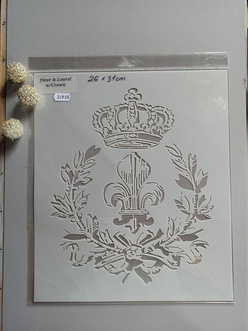 Fleur & Laurel w/ Crown sjablong