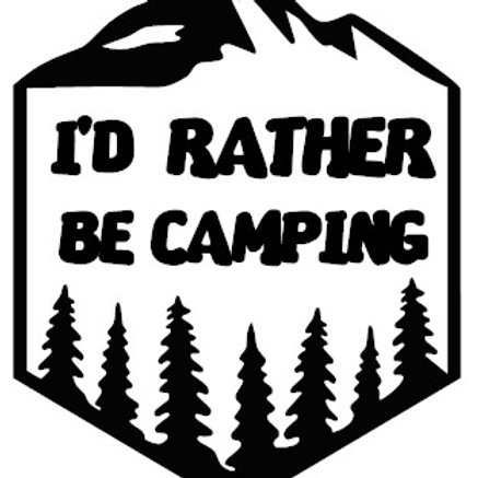 I'd Rather Be Camping Badge Decal