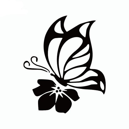 Butterfly on Flower Decal