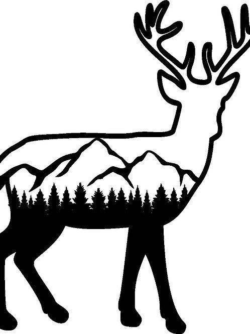 Deer Mountain Scene Decal