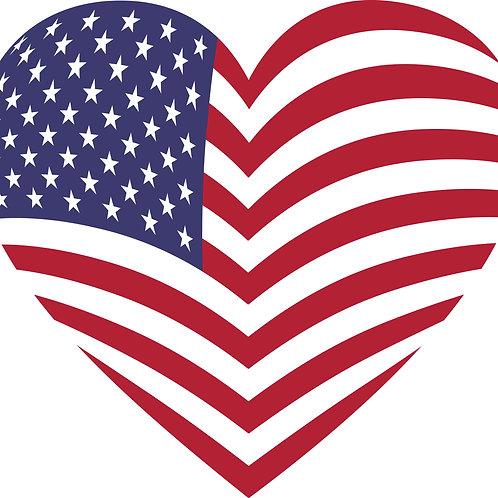 American Flag Heart Vinyl Sticker