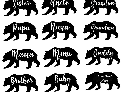 Personalized Bear Decal