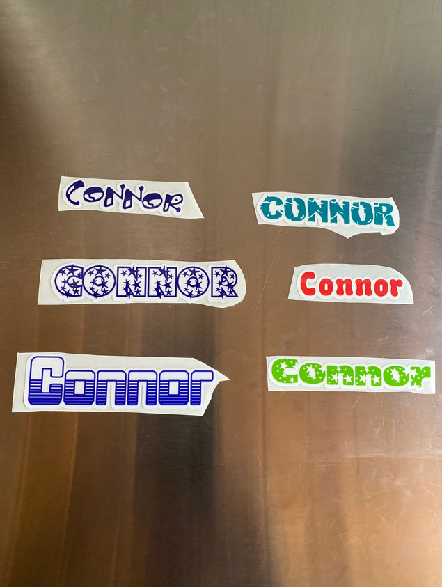 Custom Vinyl Stickers Connor Name Examples