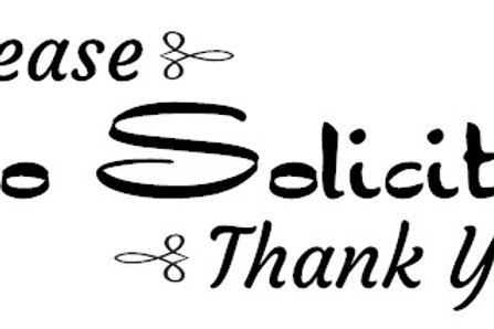 Please - No Soliciting - Thank You Decal