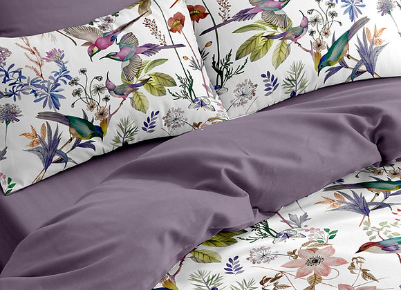 Комплект постельного белья Зеленые канарейки пудра