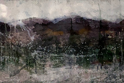 Purple Mountains, 15 x 36 inches