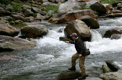 Fly fishing on the Rocky Broad River