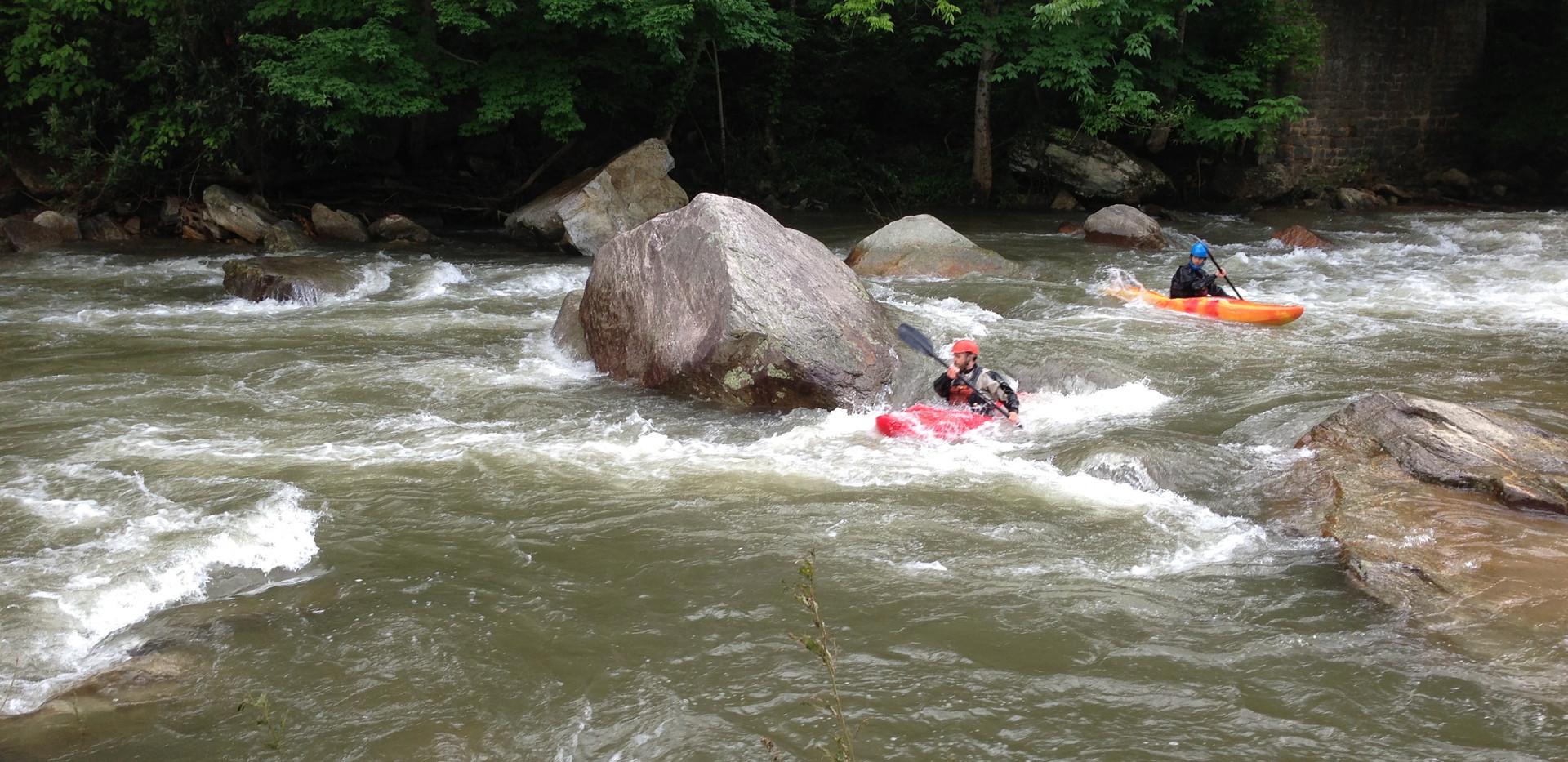 Kayaking the Rocky Broad River in Chimney Rock Village