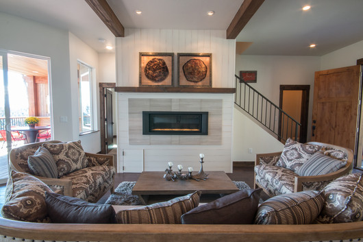 Swan Walkout  Fireplace with Shiplap