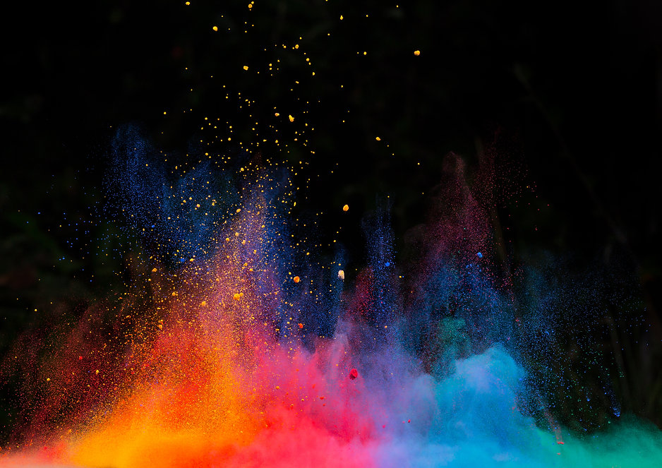 Launched colorful powder, isolated on bl