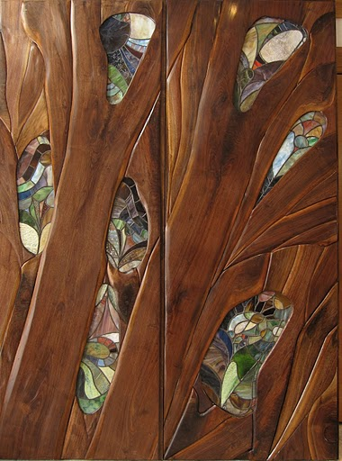 walnut and stained glass entry door detail