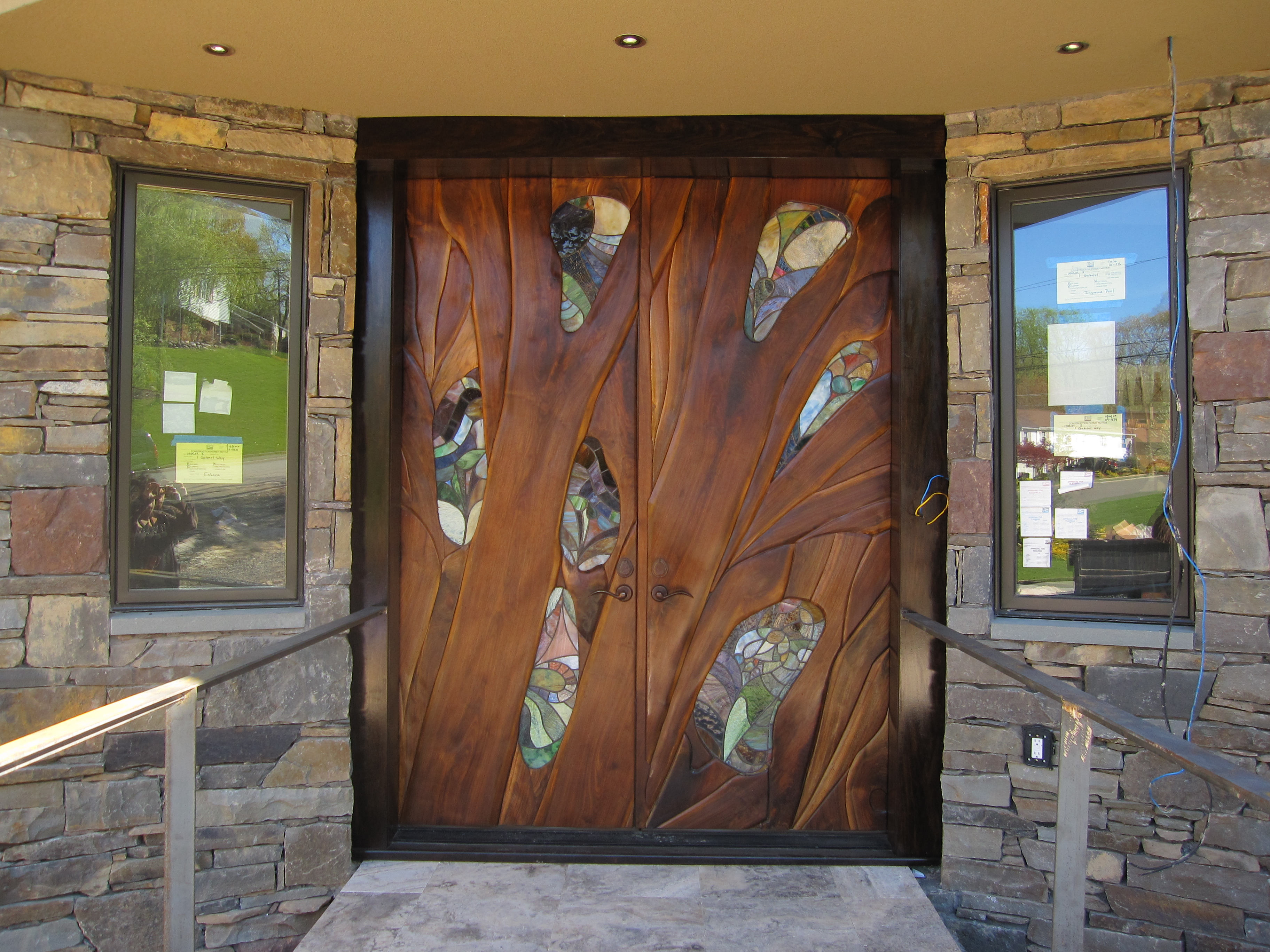 Entry door design walnut and stained glass
