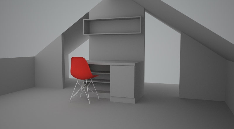 Design of desk in attic room