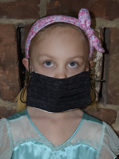 Pleated Cotton Mask - Soft Black