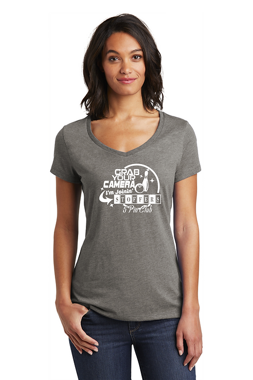 Stoffers 5 Pin Club Grab Your Camera Women's Vneck Shirt