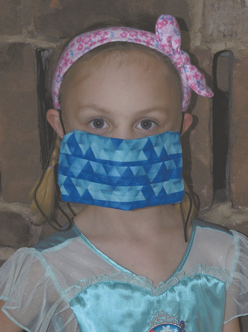 Essential Worker Pleated Cotton Mask - Triangle Geo Ombre Teal