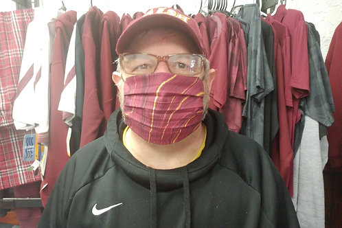 Pleated Cotton Mask - Burgundy Oil Slick