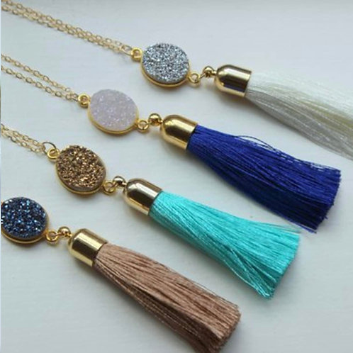 Druzy Tassel Necklace