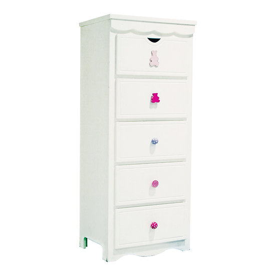 Vanilla Series Tall Chest Of 5 Drawers