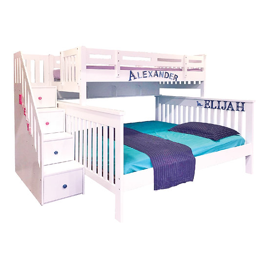 Pinto Series Bunk Bed Frame With Staircase Drawer (Single Over Queen)