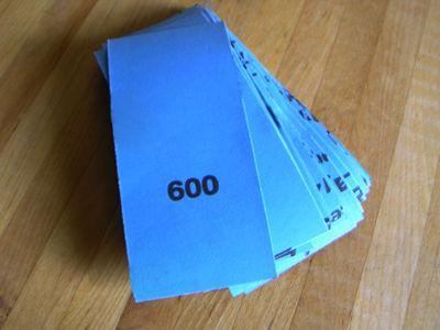 LTBL PRO #600 Sandpaper (50- 2 inch x 5.5 inch strips)