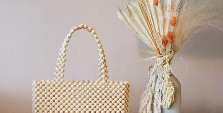 Cream Mist Beaded Bag