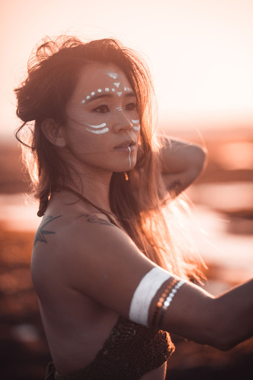 Golden Warrrior Woman with Tribal face p