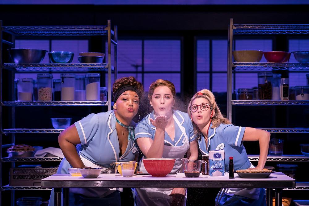 Marisha Wallace as Becky, Lucie Jones as Jenna, Ashley Roberts as Dawn. Photo: Johan-Persson