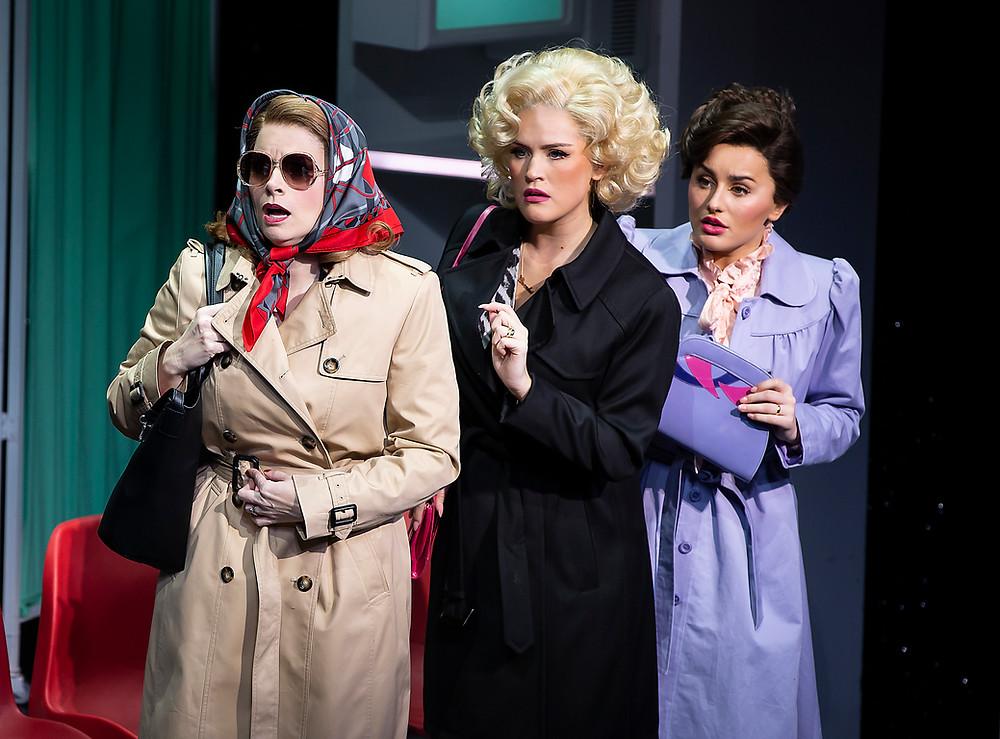 Caroline Sheen 'Violet Newstead', Natalie McQueen 'Doralee Rhodes', Amber Davies 'Judy Burnly'. Photo: Pamela Raith