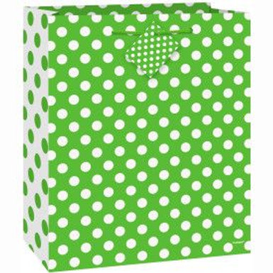 Bag Gift Medium Dots Lime Green