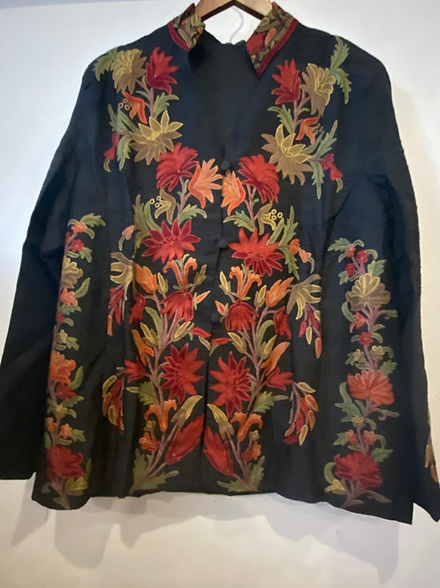 Hand Embroidered Multi Color Silk Jacket