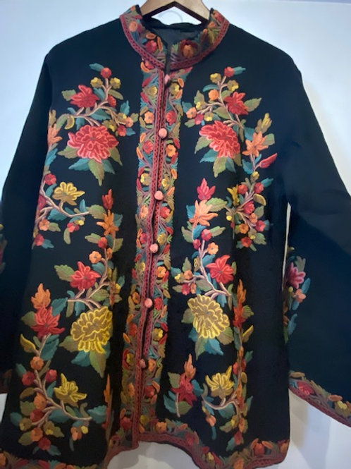 Hand Embroidered Multi Colored Wool Jacket