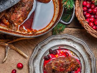 Deer roast tradional game meat cooking.j