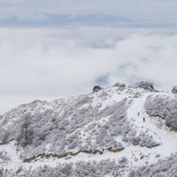 Trekkers in snow